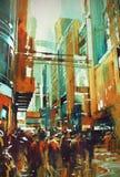 Leute in der modernen städtischen Stadt lizenzfreie abbildung