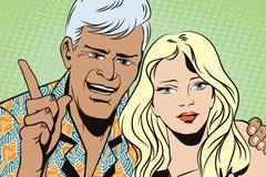 Leute in der Retrostilpop-art und in der Weinlesewerbung Mann mit einem Mädchen möchte Aufmerksamkeit erregen Lizenzfreie Stockbilder