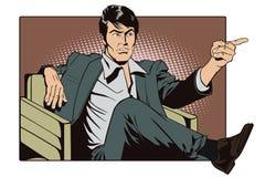 Leute in der Retrostilpop-art und in der Weinlesewerbung Sitzender Mann zeigt einen Finger Lizenzfreies Stockbild
