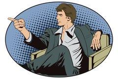 Leute in der Retrostilpop-art und in der Weinlesewerbung Sitzender Mann zeigt einen Finger Stockfotos