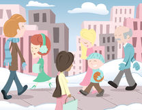 Leute in der Stadt Stockbilder
