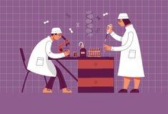 Leute in der Uniform arbeiten in einem Labor Chemisches und biologisches Labor lizenzfreie abbildung