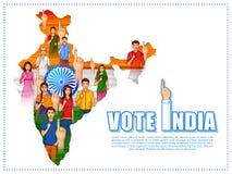 Leute der unterschiedlichen Religion Abstimmungsfinger für Parlamentswahl von Indien zeigend lizenzfreie abbildung