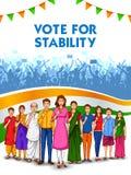 Leute der unterschiedlichen Religion Abstimmungsfinger für Parlamentswahl von Indien zeigend stock abbildung