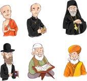 Leute der unterschiedlichen Religion in der traditionellen Kleidung Islam, Judentum, Buddhismus, orthodox, katholisch, Hinduismus stock abbildung