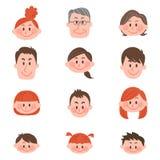 Leute des verschiedenen Alters mit Vektorillustration Stockfotos