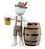 Leute des Weiß 3d Oktoberfest-Mann mit einem Bierfaß Lizenzfreie Stockfotografie