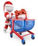 Leute des Weiß 3d Santa Claus-Einkaufenweihnachtsgeschenke Lizenzfreies Stockbild