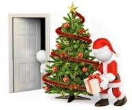 Leute des Weiß 3d Kind, das Santa Claus von seinem Raum ausspioniert Stockfotografie