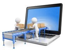 Leute des Weiß 3d Liefern von Paketen durch einen Laptopschirm Stockbild