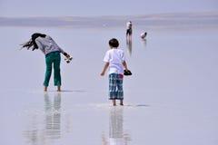 Leute, die auf das gefrorene Salz, in der Türkei gehen Lizenzfreies Stockfoto