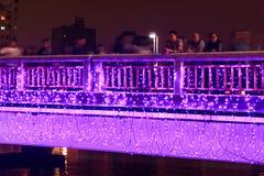 Leute, die auf die Brücke durch den Liebes-Fluss von Kaohsiung während der Feiern für das chinesische neue Jahr gehen Lizenzfreies Stockfoto