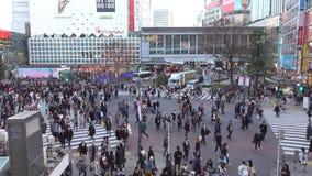 Leute, die auf Straße an Shibuya-Bezirk in Tokyo, Japan gehen stock video