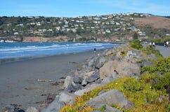 Leute, die in Autumn Sunshine auf Sumner Beach Christc schlendern Stockfotografie