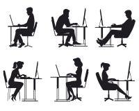 Leute, die am Computer arbeiten stock abbildung
