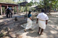 Leute, die das Elefantschongebiet, Guruvayoor besuchen Lizenzfreie Stockfotos