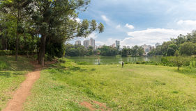 Leute, die den Aclimacao-Park in Sao Paulo genießen Stockbild