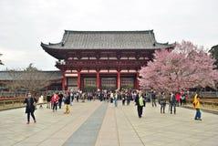 Leute, die in den Hof an Todaiji-Tempel, Nara, Japan gehen Lizenzfreie Stockfotos