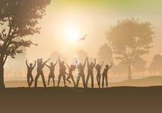Leute, die in die Landschaft tanzen Lizenzfreie Stockfotografie