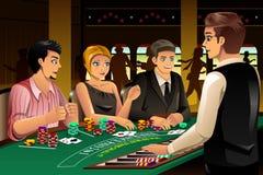 Leute, die in einem Kasino spielen stock abbildung