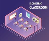 Leute, die in einem Klassenzimmer studieren, in dem Lehrer ihnen isometrische Grafik unterrichtet lizenzfreie abbildung