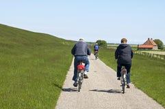 Leute, die entlang den niederländischen Uferdamm von Nordsee radfahren Lizenzfreie Stockfotografie