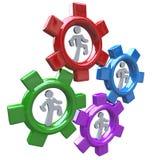 Leute, die in Gänge Teamwork und Fortschritt laufen stock abbildung