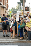 Leute, die gegen Luftverschmutzung protestieren Lizenzfreie Stockfotografie