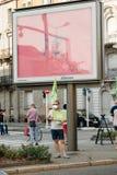 Leute, die gegen Luftverschmutzung protestieren Stockfotos