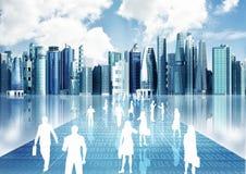 Leute, die Geschäft in der virtuellen Welt tätigen Stockbilder