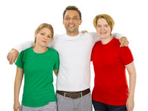 Leute, die grüne weiße und rote leere Hemden tragen Lizenzfreies Stockbild