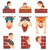 Leute, die hinter Backsteinmauer-und Lugengesetzter Karikatur-Vektor-Illustration sich verstecken lizenzfreie abbildung