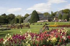 Leute, die im Park an einem sonnigen Tag in Schottland sich entspannen Stockbilder