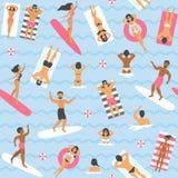 Leute, die im Seenahtlosen Muster schwimmen Lizenzfreie Stockfotos