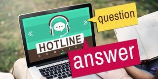 Leute, die Informations-Hotline-Servicekonzept schauen Stockbild