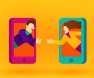 Leute, die an intelligente Telefone oder an Internet anschließen Mieten legten digital Bild fest vektor abbildung
