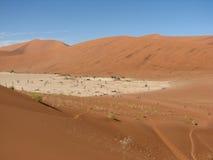 Leute, die in rote Sanddünen Sossusvlei gehen stockfotografie