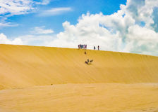 Leute, die Sandboarding an der Düne Jericoacoara Brasilien machen Stockfotos