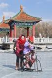 Leute, die Spaß mit dem Sledging auf Eis in Nanhu-Park, Changchun, China haben Stockfotografie