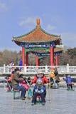 Leute, die Spaß mit dem Sledging auf Eis in Nanhu-Park, Changchun, China haben Lizenzfreies Stockbild