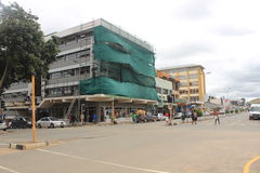 Leute die Straße in Mbabane, Swasiland, südlicher Afrika, afrikanische Stadt Lizenzfreie Stockfotos
