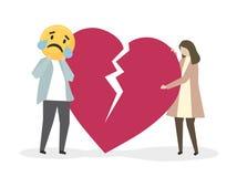 Leute, die unter Leid und Traurigkeit leiden Vektor Abbildung