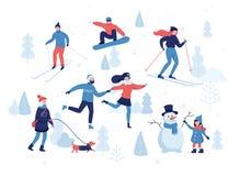 Leute, die Winterbetriebe im Park, Skifahren, laufend, Snowboarding, Mädchen haben, das den Hund, Mädchen geht, das einen netten  stock abbildung