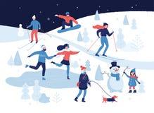 Leute, die Winterbetriebe im Park, Skifahren, laufend, Snowboarding, Mädchen haben, das den Hund, Mädchen geht, das einen netten  vektor abbildung