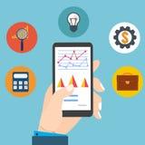 Leute, die wirtschaftliche Statistik, Netzanalytik überprüfen Finanziellex stock abbildung