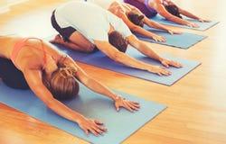 Leute, die Yoga sich entspannen und tun Lizenzfreie Stockfotografie
