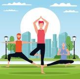 Leute, die Yoga tun lizenzfreie abbildung