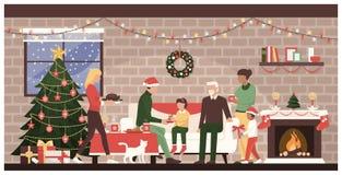 Leute, die zu Hause Weihnachten feiern stock abbildung