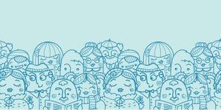 Leute in einem horizontalen nahtlosen Muster der Menge Lizenzfreies Stockfoto