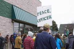 Leute an einem Protest Stockfoto